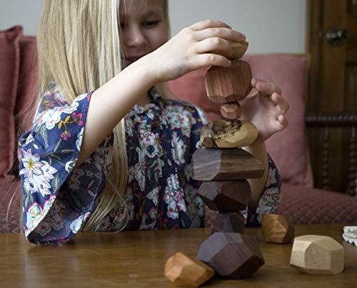Tumi Ishi 11 Piece Wood Rock Set – Mixed Wood Species – Balancing Blocks – Natural Wood Toy – Organic Jojoba oil and…