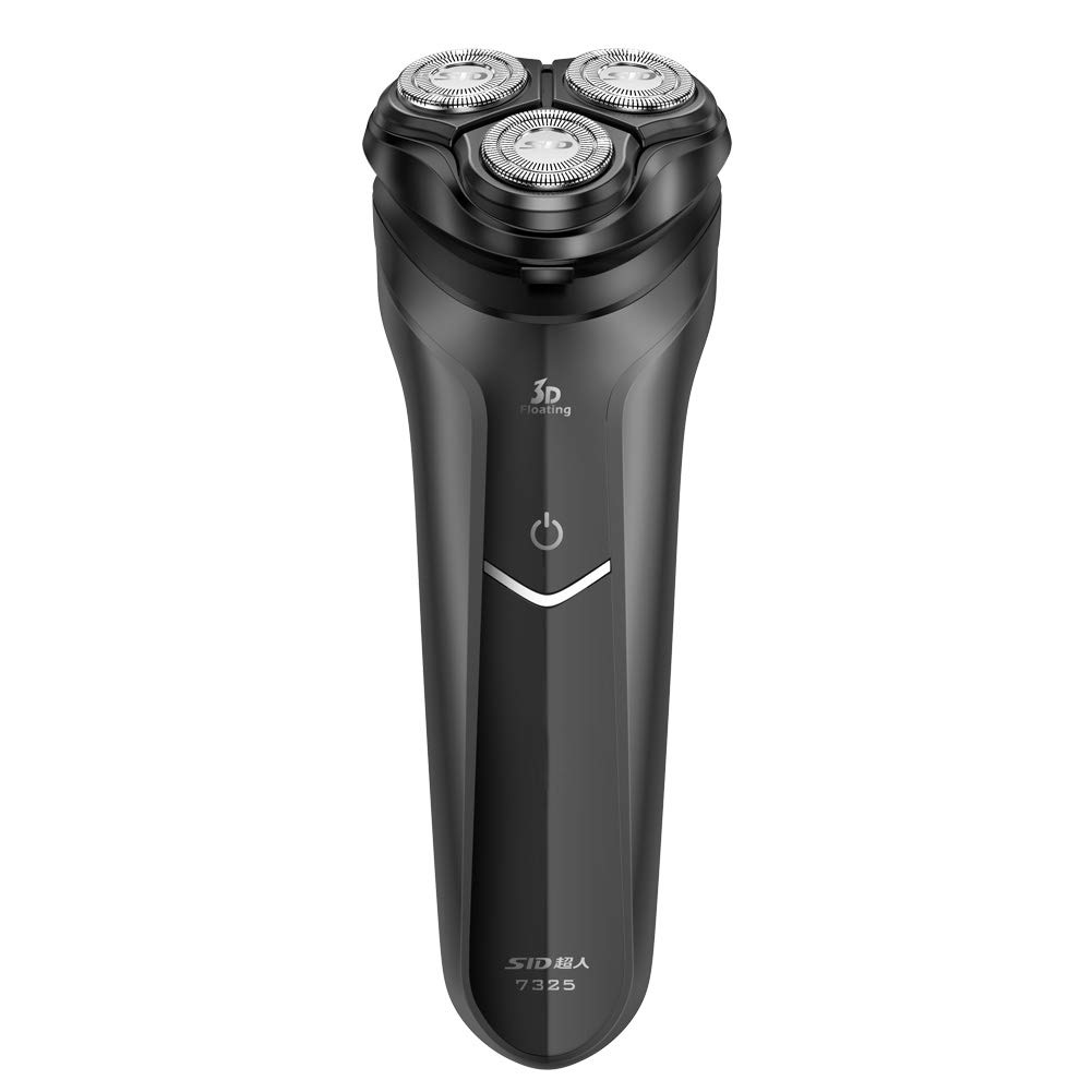 SID Black Rotary Men's Dry Electric Shaver 3 Heads with Integrated Precision Pop-up Trimmer Turbo Plus Rechargeable and Cordless Razor, USB Cable