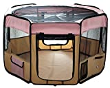 "Image of ESK Collection 48"" Pet Puppy Dog Playpen Exercise Pen Kennel 600d Oxford Cloth Pink"