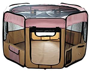 """ESK Collection 48"""" Pet Puppy Dog Playpen Exercise Pen Kennel 600d Oxford Cloth Pink"""