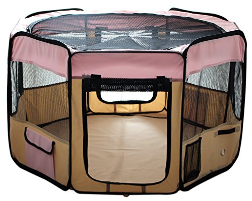 ESK Collection 48″ Pet Puppy Dog Playpen Exercise Pen Kennel 600d Oxford Cloth Pink
