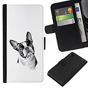 Stuss Case / Funda Carcasa PU de Cuero - Boston Terrier Black White Art Dog - Sony Xperia Z2 D6502