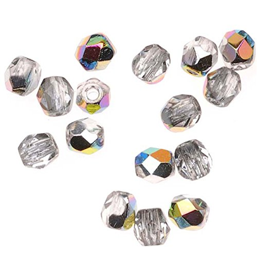 Czech Fire Polish Glass Beads 3mm Round Crystal Vitrail (50) -
