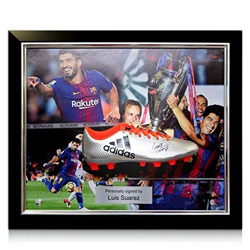 Luis Suarez Signed Soccer Shoe  Framed Barcelona Presentation  94c9b4cae