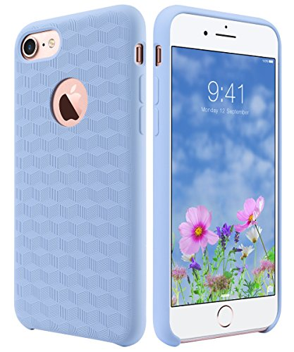 Slim Fit Liquid Rubber & Silicone Protective Shock Absorption Cover with Soft Microfiber Cloth Lining Cushion for Apple iPhone 7 4.7 Inch,Light Blue Cubic Pattern (Light Blue Case)