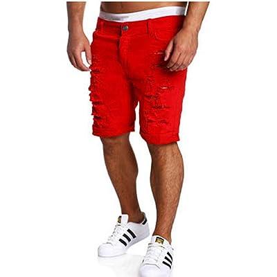 2018 New Summer Ripped Mens Slim Regular Knee Length Hole Denim Shorts