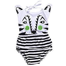 ChainSee New Arrival Cute Baby Print Sleeveless Cotton Romper Jumpsuit (80, White)