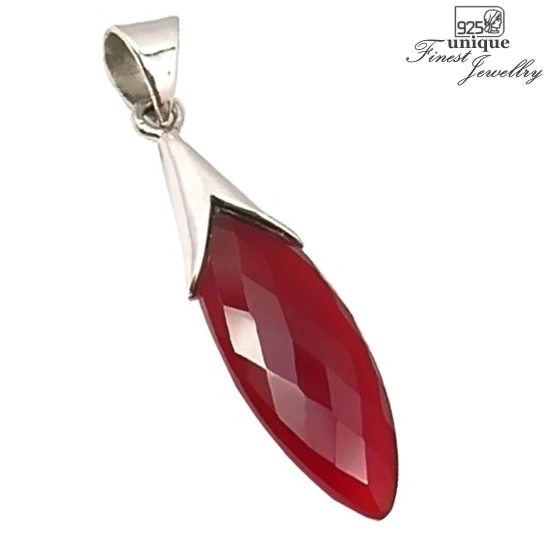 Unique Exklusiver Jugendstil Ketten Anh/änger roter Karneol Tropfen eingefasst in 925 Sterling Silber nickelfrei 8.8 Karat in Juweliers Qualit/ät