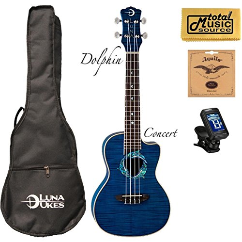 (Luna Fauna Series Dolphin Quilted Maple Concert UkE w/Strings,Tuner &PC )