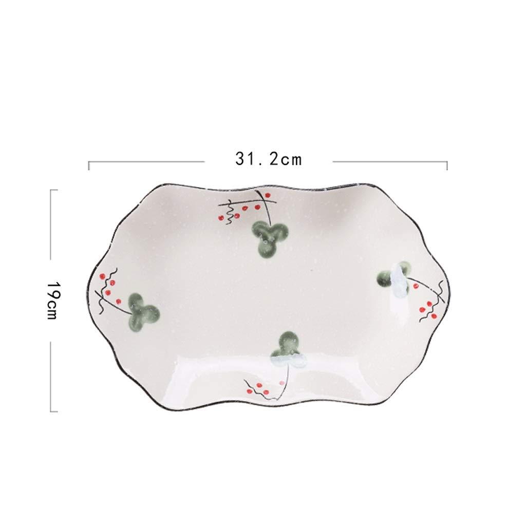 Plato 31,2 cm Vajilla de cerámica Plato Grande de Pescado al Vapor ...