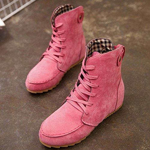 Egmy Femmes Plat Cheville Neige Moto Bottes En Daim Féminin Lacets Boot Rose Chaud