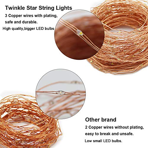 Twinkle Star 200 LED 66ft Fairy Copper String Lights USB & Adaptor Powered, Dimmable Control Starry String Lights Home… 3
