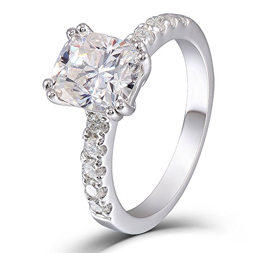 DOVEGGS 2.35CTW 2.2MM Width 7X8MM H-I color Cushion cut Moissanite Engagement Ring Solitare with Accents for Women Platinum Plated Silver (6.5) by DOVEGGS