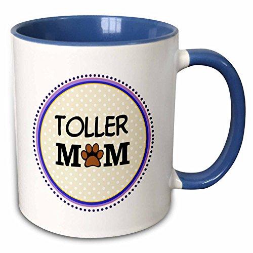 3dRose InspirationzStore Pet designs - Toller Dog Mom - Nova Scotia Duck Tolling Retriever - Doggie mama by breed - pawprint doggy love - 15oz Two-Tone Blue Mug (mug_151786_11)