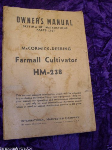 McCormick-Farmall Cultivator HM-238 OEM OEM Owners Manual