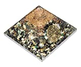 Crocon Black Tourmaline Ruby Fuchsite Orgone Pyramid with 4 Spring Flower of Life Chakra Balancing Reiki Healing Aura Cleansing & EMF Protection Size: 2.5-3 Inch