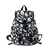 Epokris Women's Casual Canvas Backpack College School Daypack Teen Girl Cute Bag (black flower)