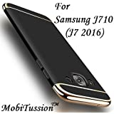 for Samsung Galaxy J7 2016 Cover - J710 - Black [MobiTussion] New Luxury Smart Semi Clear View Mirror Flip Cover for Samsung J7 2016/J710 Cover Mirror Flip Cover (Black)