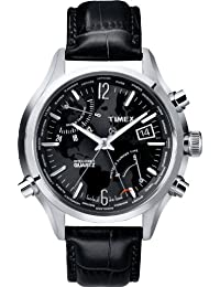 Timex Intelligent Quartz World Time, Stainless Steel Case, Black Dial, Black Leather Strap - T2N943