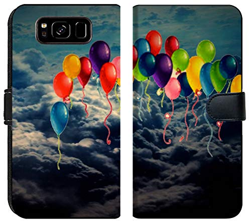 Samsung Galaxy S8 Flip Fabric Wallet Case Image of Blue Balloon red Colorful Party Fun Celebration Background Holiday Helium air Celebrate Birthday decorat]()