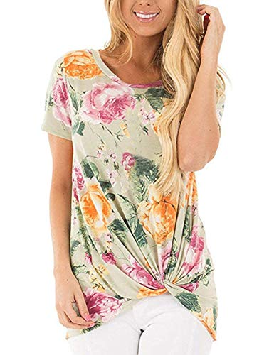 Women's Casual T Shirts Twist Knot Tunics Tops Printed Floral Short Sleeve Blouse