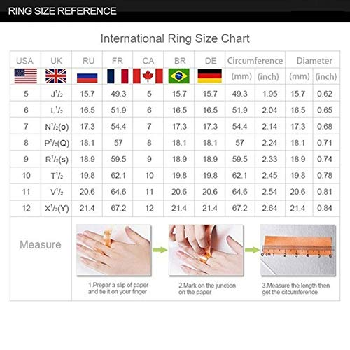 Fashion Lady's Ring, Women Silver & Rose Gold Filed White Wedding Engagement Floral Ring Set Jewelry Gift for Women Girls(Red,6)