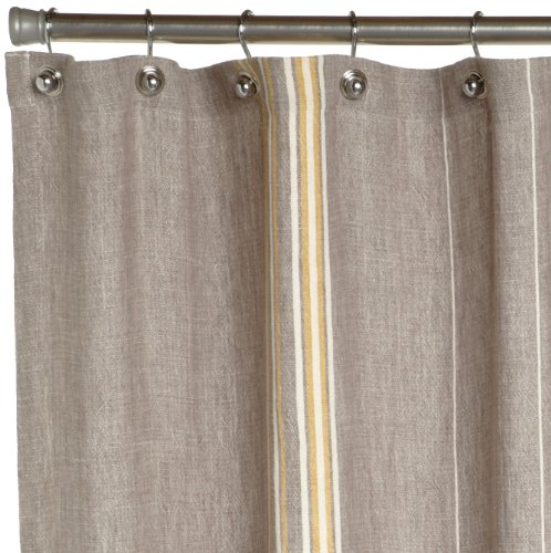 grey linen shower curtain. Coyuchi Rustic Linen Shower Curtain  Gray with Mustard Ivory Amazon co uk Kitchen Home