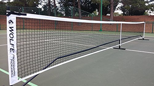 Wolfe Pickleball Net - Tension Straps On Both Ends and Solid Metal Center Pole, Portable Net for Pickleball, Kids Volleyball, Badminton - Includes Wheeled Carrying Case
