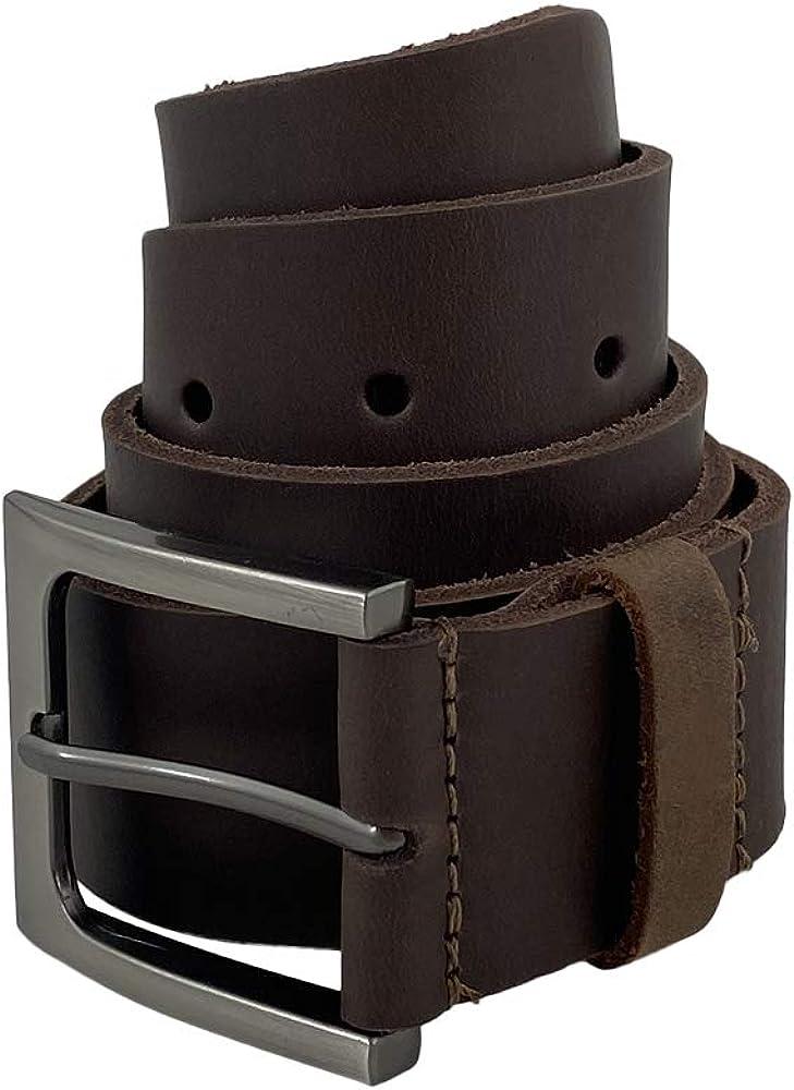Hide & Drink, Men's Rustic Thick Leather Belt Handmade :: Bourbon Brown