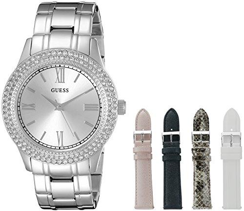 GUESS Women's U0713L1 Luxurious Silver-Tone Watch Set with Metal Bracelet and 4 Interchangeable Straps Inside a Bonus Jewelry Box