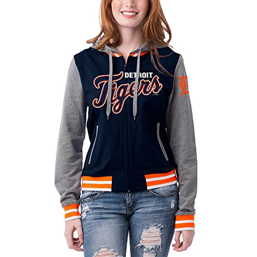 Detroit Tigers Women's French Terry Contrast Sleeves Zip Up Hoodie X-Small