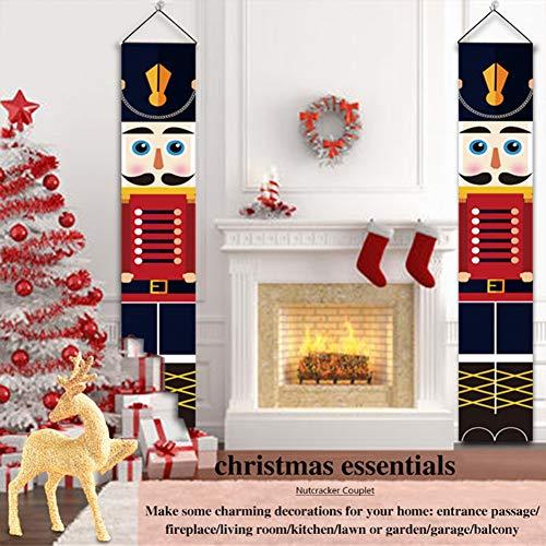 WISREMT Life Size Soldier Model Xmas Decor Banners, Nutcracker Christmas Decorations for Front Door Porch Garden Indoor Exterior Kids Party Yard Gate 1 Pair 32x180cm