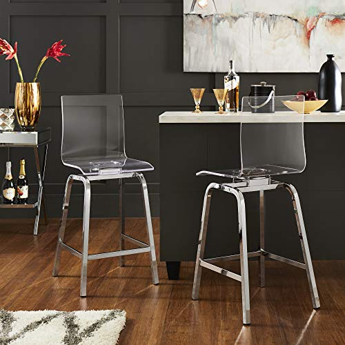 Union 5 Home Avallon Glam Transparent Clear Acrylic Swivel High Back Bar Stools - Set of 2