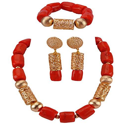 aczuv African Wedding Coral Beads Jewelry Set Nigerian Necklace Bracelet Earrings Bridal Jewelry Sets (C04-Orange)