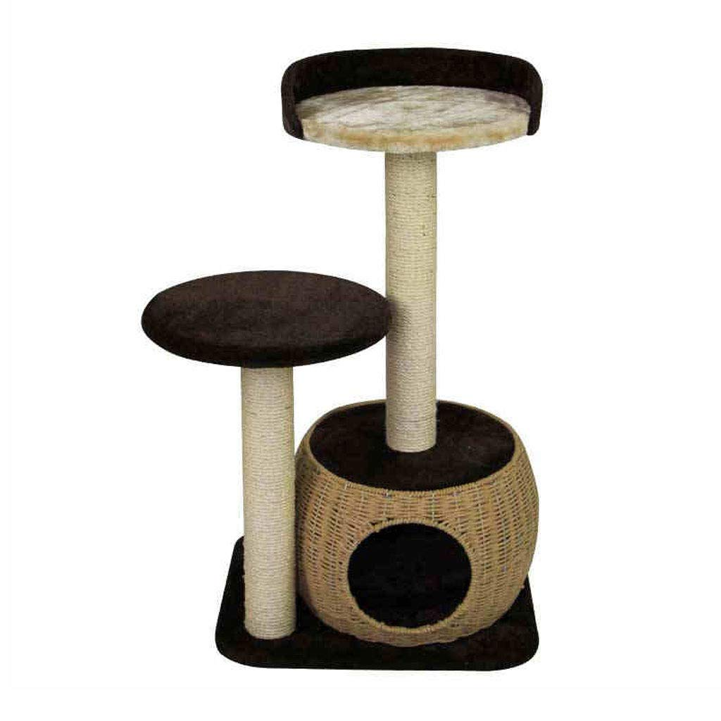 GCHOME Cat tree tower Cat Tree, Straw Sisal Cat Tree Tower Cat Climbing Frame Wear-resistant Scratch-resistant Durable (brown)