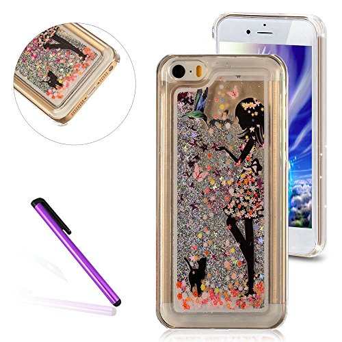 Delights Fancy Dress (5C Case,LEECO iPhone 5C Case 3D Glitter Bling Flowing Liquid Floating Moving Hard Protective Cover Case for Apple iPhone 5C (Girl Wear Fancy Dress ))