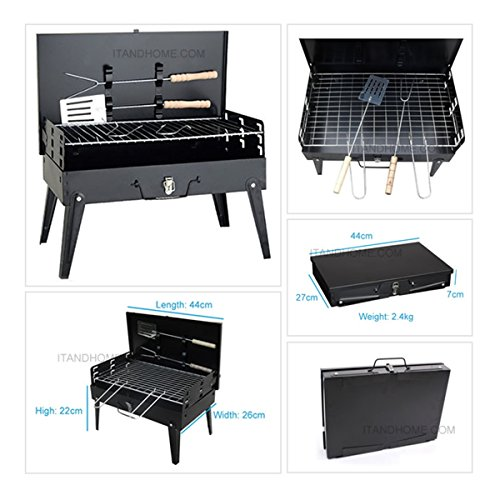 Party Griller 43 x 26.5cm Stainless Steel Charcoal Grill - Portable BBQ Grill