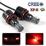 2PC 120W H8 Red LED Halo Angel Eyes Light Bulbs CREE XP-E for BMW E60 E61 X5 X6 Etc