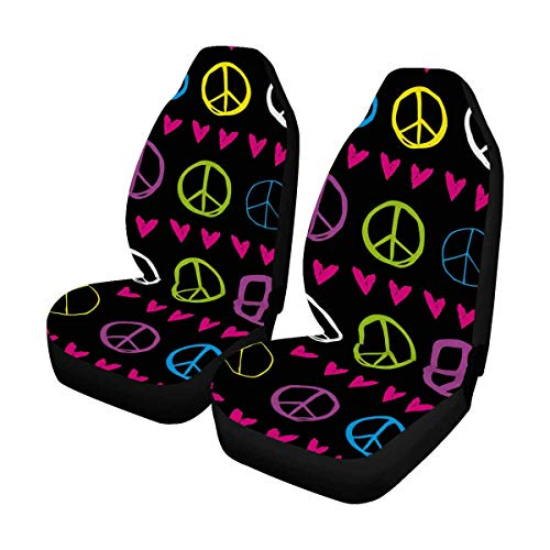 INTERESTPRINT Fun and Cute Peace Sign Hearts Auto Seat Protector 2 Pack, Bucket Seat Protector Car Seat Cushions for Car, SUV, Truck or Van ()