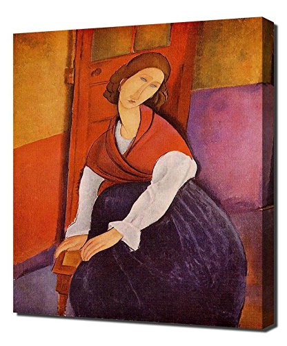 Lilarama USA Amedeo Modigliani Jeanne Hebuterne In Front Of A Door 1919 - Canvas Art Print - Wall Art - Canvas Wrap Amedeo Modigliani Framed Canvas