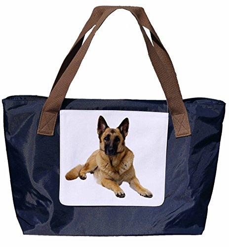 Shopper /Schultertasche / Einkaufstasche / Tragetasche / Umhängetasche aus Nylon in Navyblau - Größe 43x33cm - Motiv: Deutscher Schäferhund liegend Porträt - 01