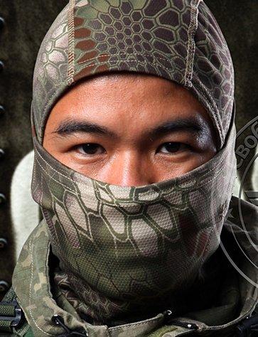 Acid Tactical® Brown / Green Hexagon Camouflage Balaclava Full Face mask Ninja hood Millitary Camo