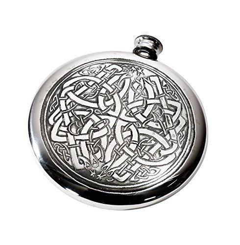 - Wentworth Pewter - Celtic Pattern Polished Round Pewter Sporran Flask, Spirit Flask, 4oz Capacity