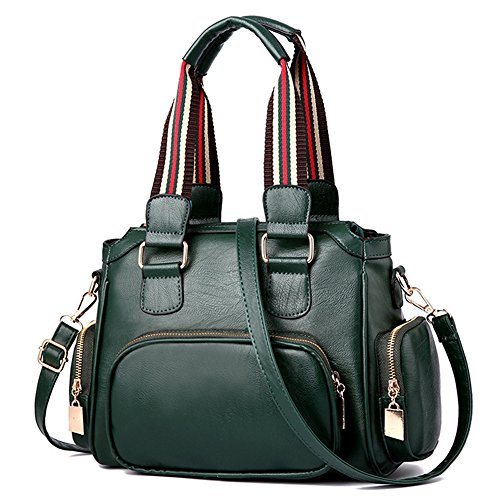 Mn&Sue Women Shoulder Purse Leather Tote Bag With Pockets Work Messenger Purse Crossbody Satchel (Dark - Bag Green Messenger 13'