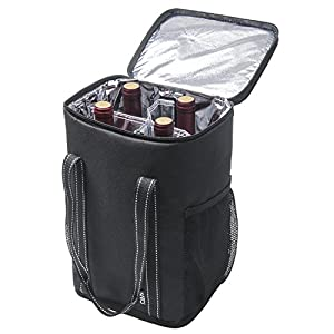 Kato Insulated Wine Carrier - Portable 4 Bottle Wine Carry Cooler Tote Bag with Detachable Divider and Strong Handle, Great for Picnic, Travel and Party, Black