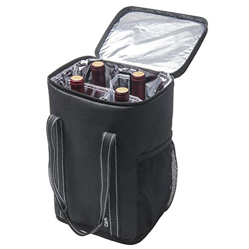 - Kato Insulated Wine Carrier - Portable 4 Bottle Wine Carry Cooler Tote Bag with Detachable Divider and Strong Handle, Great for Picnic, Travel and Party, Black