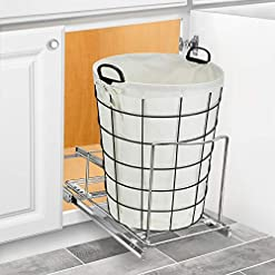 Kitchen Lynk Professional Bin Holder Pull Out Under Cabinet Sliding Organizer, 10 inch Wide x 20 inch deep, Chrome pull-out organizers
