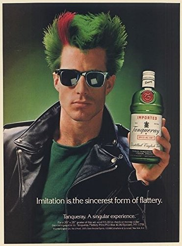 1988-tanqueray-gin-guy-green-red-hair-imitation-is-sincerest-form-of-flattery-print-ad-66519