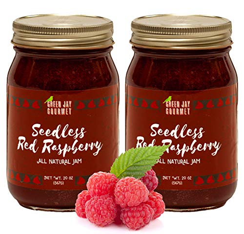 (Green Jay Gourmet Seedless Raspberry Jam - All-Natural Fruit Jam with Red Raspberries & Lemon Juice - Vegan, Gluten-free Jam - Contains No Preservatives or Corn Syrup - Made in USA - 40 Ounces)