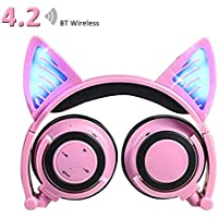 Wireless Bluetooth Headphones with Cat Ear, AMENON On-ear Foldable LED Gaming Flashing Lights USB Charger Earphone Headset for Children, Compatible with IOS phone and Android Phone Laptop (2 Pink)